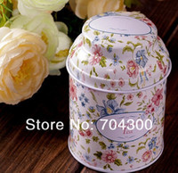 Metal wholesale tea tins - HOT Vintage style flower series tea box tin box storage case organizer Iron case storage container