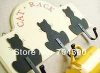 Wholesale Household Wooden black cat hook coat hook wall decoration wooden metal accessories wool coat hooks