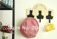 Wholesale wall decoration wooden metal accessories wool coat hooks Household Wooden black cat hook coat hook