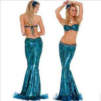 Shirred belly dance bra set - Female Sexy Mermaid Queen Costume Best Belly Dance Cospaly performance bra dress set