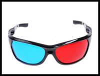 Wholesale 3D Glasses Red Blue Dimensional Anaglyphic Black Plastic Frame DVD Movie Game Glasses Fashion