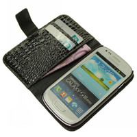 Wholesale Crocodile Grain Wallet Leather Case Skin Cover Pouch Holster for Samsung Galaxy S3 S III Mini i8190 Credit Card Slots Holder With Stand