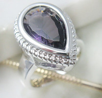 Wholesale Luxury Heart Design Shining amethyst Rings Fashion silver Generous Gemstone Rings Hot