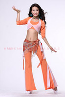 Women Belly Dancing Cotton 2013 hot sell belly dance dancing two colors tribal top+pants+snakeskin sequin hip scarf 3pcs set costume wear stages clothing costumes