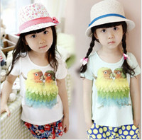 7-9-11-13-15 base feathers - Summer Children T shirts new style stereoscopic feather parrot pattern Short sleeve girls T shirt kids base shirt colour size