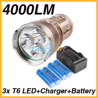 Wholesale 4000 Lumens x CREE XM L T6LED High Brightness Aluminum alloy Flashlight Torch Gold x mAh Battery x Charger