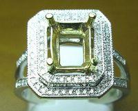semi mount ring - EMERALD SOLID K YELLOW GOLD NATURAL DIAMOND Wedding Engagement SETTING SEMI RING MOUNT WR0022 SETTING SEMI RING MOUNT