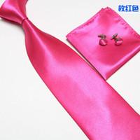 Wholesale Mens Tie Set Dress Tie Cufflinks Hanky Tie bags color cm solid color