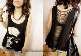 Wholesale Skull Heads Hollow T Shirt Backless Tassels Tank Top Vest T shirt black Women Girl Only buyer quot GreatShopDeals quot
