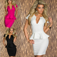 Wholesale Plus Size New Brand Sexy Short Sleeve V neck Patchwork Ruffled Peplum Club Dress Party Sheath Pencil Knee Length Dresses M L XL XXL