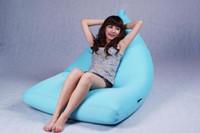 fabric aqua sofa - Aqua blue large bean bag chair pivot beanbags