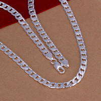 Wholesale trendy fashion high quality silver classic perfect men MM flat sideways Personality necklace jewelry holiday gifts N047