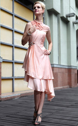 Wholesale No Risk Shopping Retro Prom Dress High Collar Fold Tea length Sheath Homecoming Dress