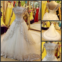Beading Scoop Organza Gorgeous Bow Crystal Pearls Beading Appliques Scoop neckline A-Line Chapel Train Wedding Dresses Bridal Gowns A013