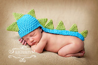 Cheap 10pcs Lot Newborn Baby Kids Costume Photo Photography Props Crochet Beanie Handmade Knitted Long Tail Dinosaur Hat Cap