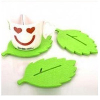 Wholesale Creative fashion felt beautiful green leaf cup mat coaster with Chinese character cup mat
