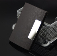 Wholesale 10pcs Black Leather Business Card Holder Male Ms Of Stainless Steel Metal Card Case