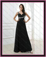 Floor-Length Model Pictures Sweetheart 2013 Dhgate Model Pictures Elegant Black Chiffon Evening Gowns Shiny Shoulder Straps Sweetheart Long Cheap Graduation Dresses