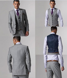 Wholesale High Quality Wool Suits Side Slit Light Gray Groom Tuxedos Notch Lapel Man Business Suits Prom Suits Jacket Pants Tie Vest AA