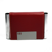 Wholesale 10pcs Red Leather Business Card Holder Stainless Steel Metal Card Case personalized gifts Wedding staff benefits