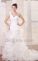 Wholesale Charming One Shoulder Ruched Ruffles Sweetheart A Line Wedding Dresses Pleated Bodice Organza Lace Up Bridal Gowns Chapel Train