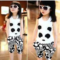 Wholesale Children Baby Girls clothes Panda Photo new style children clothings suits T shirt trouser color set