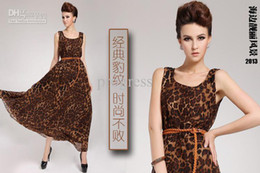 Wholesale 2013 New women s Ladies sexy fashion long Jumper skirts loose waisted tank leopard print dress
