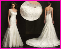 Wholesale Newest One Shoulder Beads Lace Mermaid Bridal Wedding Dress Gowns Zipper W1820