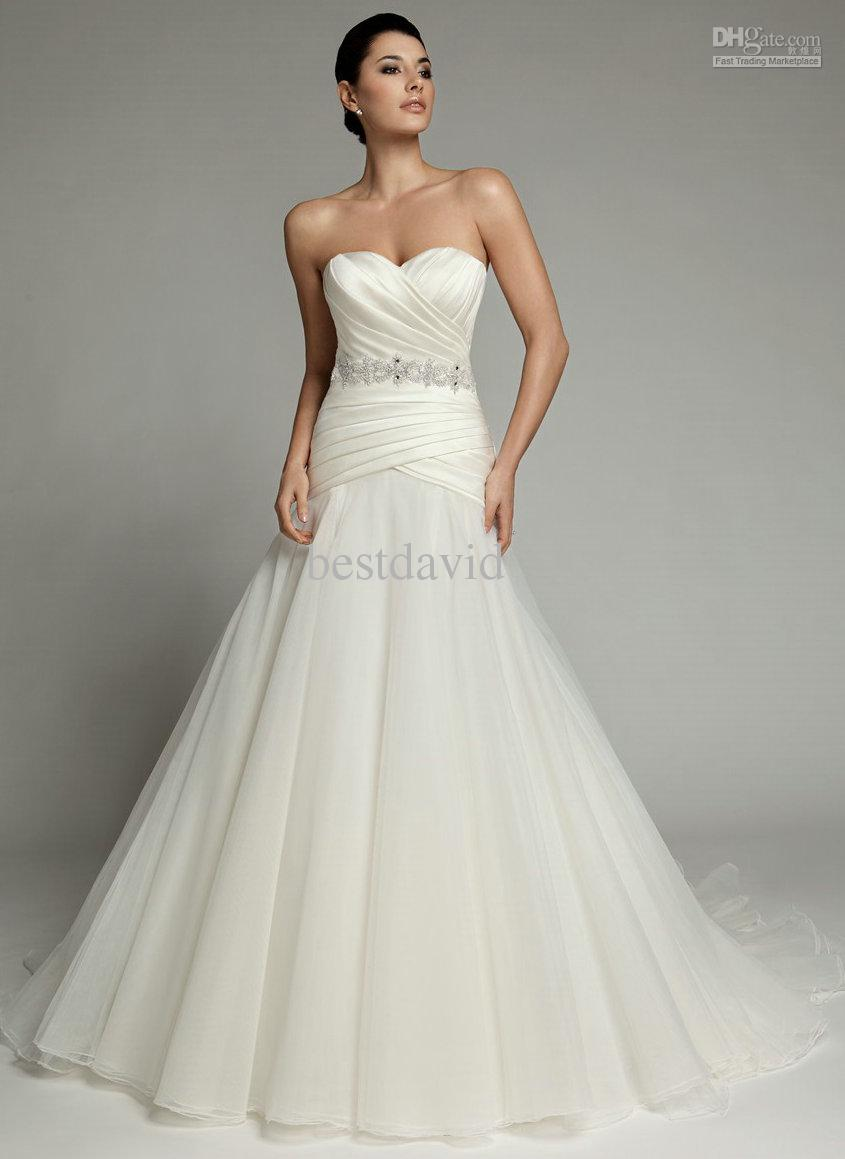 2013 sweetheart pleated a line wedding dress beaded belt for Www dhgate com wedding dresses