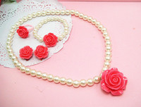 Wholesale 2013 Summer Sweet Fashion Baby Girl s Roses Type Jewelry Kid s Cute Necklace Hand Chain Ear Clips Unique Rings Children s Five piece Stes