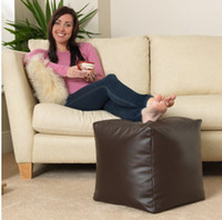 beanbag footstool - Brown FAUX LEATHER beanbag chair footstool