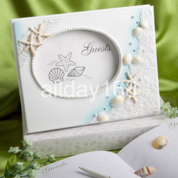 Wholesale Top grade unique design blue sea star shell Guestbook Party Meeting Attendance Book