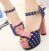 Chunky Heel ankle strappy sandals - Sandals American Flag Stars Sexy Peep Toe Ankle Strappy Sexy High Heels Sandals Size