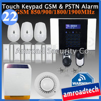 Wholesale 40 Zones LCD Touch Keypad GSM and PSTN Wireless Home Security Burglar Intruder Alarm System w External Solar Powered Siren iHome328MGT22