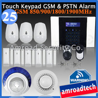 Wholesale 1set Zones LCD Touch Keypad GSM Auto Dialling and PSTN Wireless Security Home Burglar Intruder Alarm System iHome328MGT25
