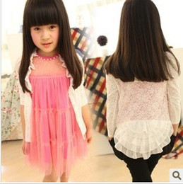 Wholesale Summer Fashion New Type Years Baby Girl s Cardigan Shirts Kid s Hot Sale Equisite Lace Chiffon Fungus Shaped Triming Cotton Outerwear