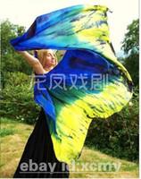 Wholesale BELLY DANCE chiffon VEILS sari SILK hand dyed sapphire blue green yellow
