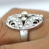 Wholesale Crystal Ring fashion flowers class ring cheap ring jewelry