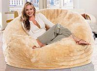 Wholesale Cushion Seat Bag - Long fur beige beanbag lounge cover, extra large big bean bag living room cushion, multipeople seat sun lounger