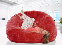 Wholesale Long fur red beanbag lounge cover extra large big bean bag living room cushion multipeople seat sun lounger