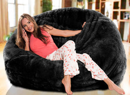 Wholesale Long fur Solid black beanbag lounge extra large big bean bag living room cushion multipeople seat sun lounger cover