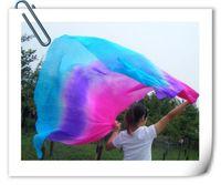 Wholesale BELLY DANCE chiffon VEILS sari SILK hand dyed pink purple blue