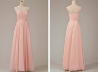 Wholesale Bridesmaid Evening Formal Dress Gown Sleeveless Pink Chiffon Ruffle A Line Good Quality Material