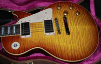 Wholesale 59 Reissue Gloss Finish Iced Tea Crazy Flame Top Electric Guitar OEM guitar guitars from china