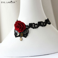 red velvet flower - N00137 gothic neck chokers lace velvet choker necklace for women Gothic red rose flower bud silk women s fashion necklace off the collar