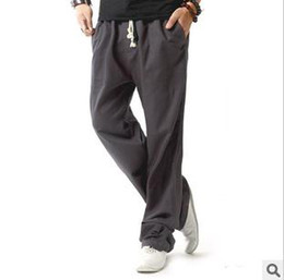 Wholesale 2013 Fashion Men Tether Cotton Linen Relaxed Straight Loose Long Pants Home Pants Sports Pants JM
