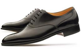 Dress shoes men's shoes custom handmade shoes oxford shoes genuine calf leather color black hot sale HD-N026