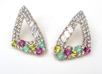 Wholesale 12 per new fashion good quality women shine colorful crystal rhinestone earring