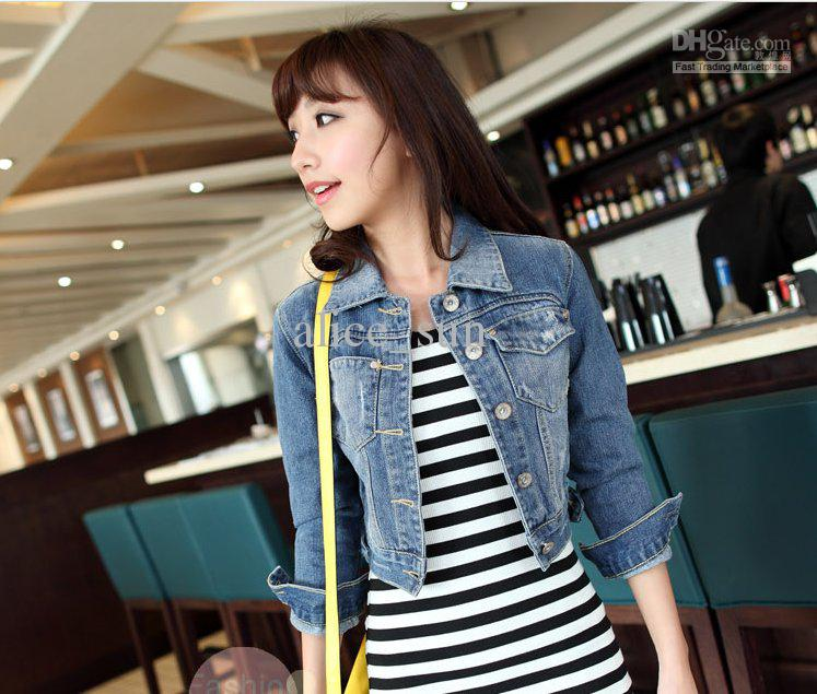 2013 Women 's Long Sleeved Denim Shirt Jacket Short Paragraph Coat ...