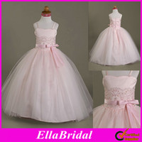 Real Photos Girl Applique 2013 Pink Satin Tulle Floor Length Spaghetti Straps Beaded Appliques Ball Gown Flower Girl Dresses Formal Little Girl Gowns Dress 00027651